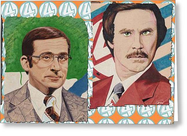 Anchorman Greeting Cards - The Channel 4 News Team Greeting Card by Kyle Willis