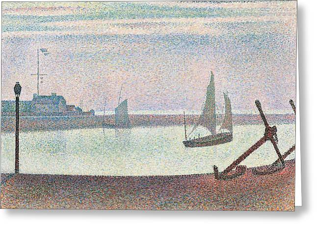 Foggy Ocean Paintings Greeting Cards - The channel at Gravelines in the evening Greeting Card by Georges Seurat