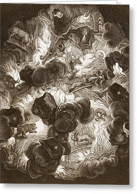Zodiac. Greeting Cards - The Chaos, Engraved By Bernard Picart Greeting Card by Abraham Jansz van. Diepenbeeck