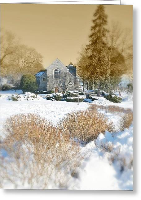 Connecticut Winter Greeting Cards - The Chapel Greeting Card by Diana Angstadt