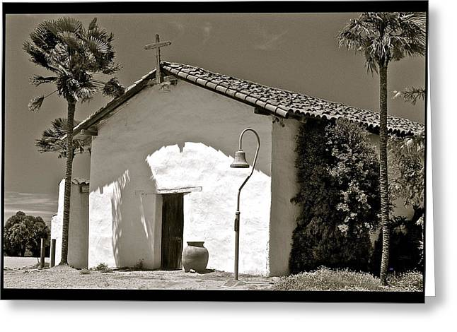 Cross Pyrography Greeting Cards - The Chapel Door Greeting Card by DUG Harpster