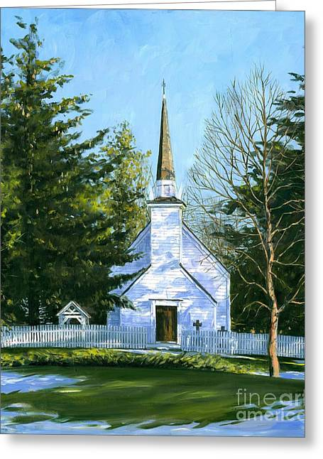Artist Michael Swanson Paintings Greeting Cards - The Chapel of the Mohawks Greeting Card by Michael Swanson