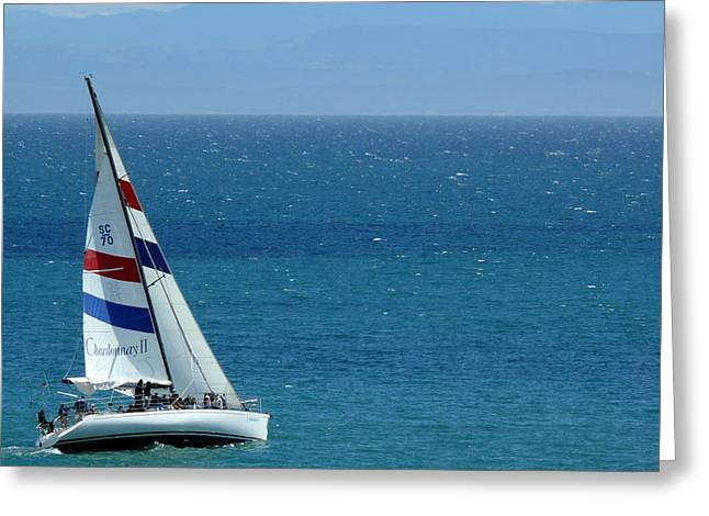Santa Cruz Sailboat Greeting Cards - The Chardonnay II sailing yacht in Santa Cruz California Greeting Card by Gary Dance