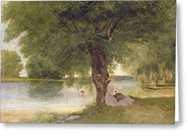 Girl In Dress Greeting Cards - The Charente At Port Bertaud Greeting Card by Gustave Courbet