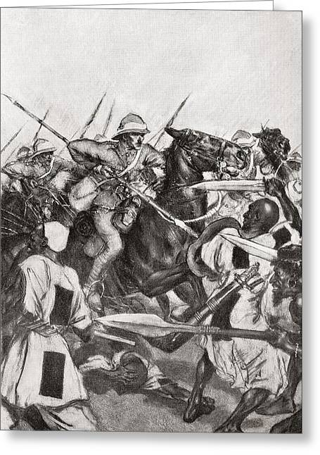 21st Greeting Cards - The Charge Of The 21st Lancers At Omdurman, Khartoum, Sudan During The Mahdist War In 1898.    From Greeting Card by Bridgeman Images