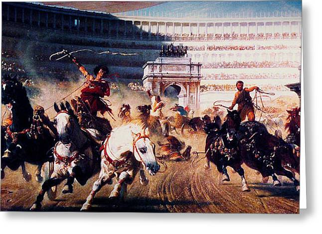 Li Van Saathoff Greeting Cards - The Chariot Race 1882 Greeting Card by Li   van Saathoff