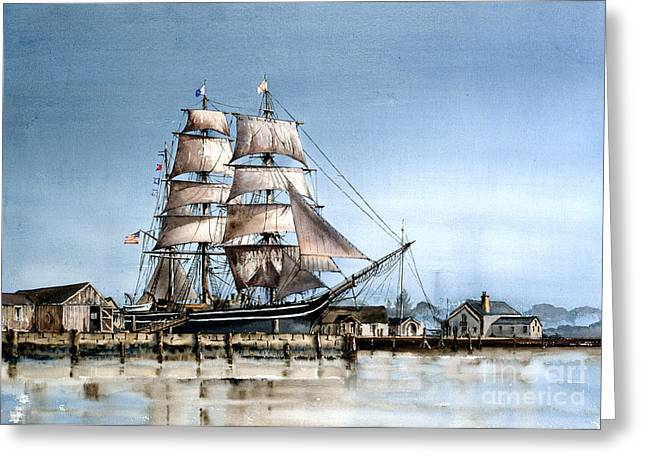 Tall Ships Greeting Cards - The Charles Morgan  Mystic Harbour Greeting Card by Val Byrne