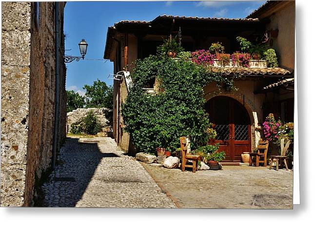 Frontdoor Greeting Cards - The Charming Patio Greeting Card by Dany  Lison