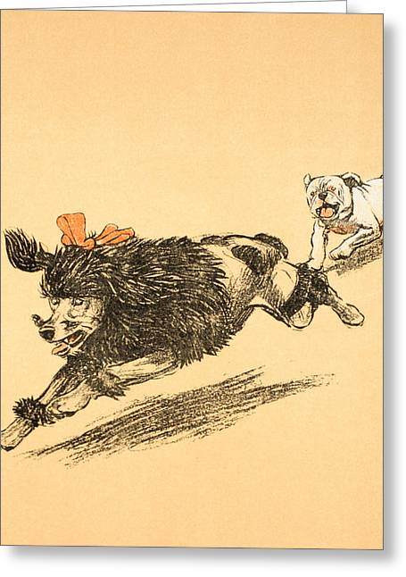 Playful Greeting Cards - The Chase Greeting Card by Cecil Charles Windsor Aldin