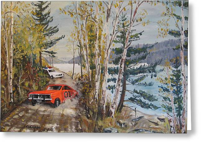 Dukes Of Hazard Greeting Cards - The Chase Greeting Card by David Irvine