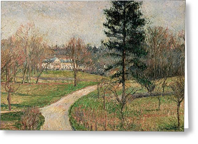 Villa Paintings Greeting Cards - The Chateau at Busagny Greeting Card by Camille Pissarro