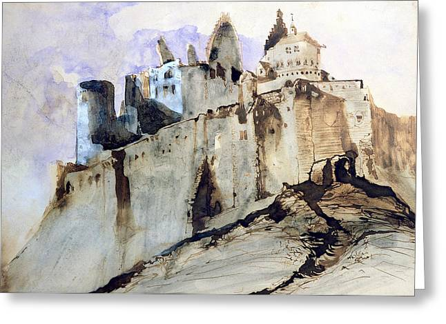 Romanticism Drawings Greeting Cards - The Chateau of Vianden Greeting Card by Victor Hugo