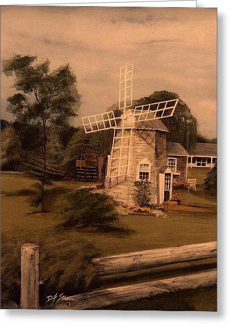 Chatham Mixed Media Greeting Cards - The Chatham Windmill Cape Cod MA Greeting Card by Diane Strain