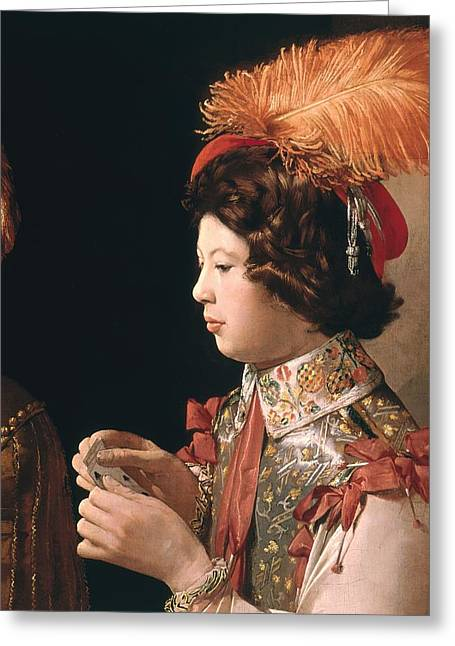 Playing Cards Photographs Greeting Cards - The Cheat With The Ace Of Diamonds, Detail Depicting The Male Card Player With The Feathered Hat Greeting Card by Georges de la Tour
