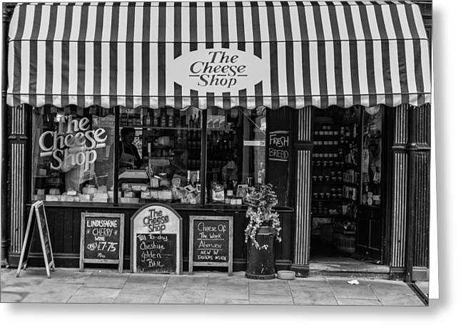 Fresh And Healthy Greeting Cards - The Cheese Shop in black and white Greeting Card by Nomad Art And  Design