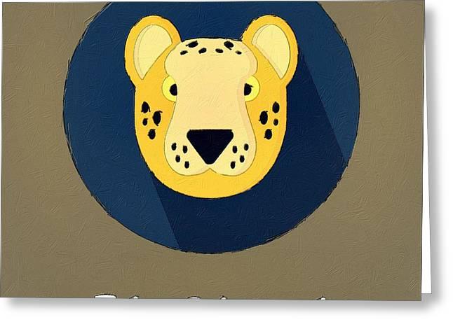 Cute Animal Cartoon Greeting Cards - The Cheetah Cute Portrait Greeting Card by Florian Rodarte