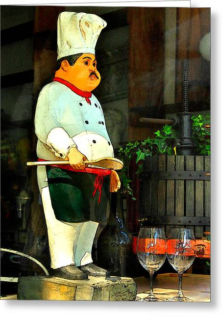 Napa Valley Digital Greeting Cards - The Chef In The Window Greeting Card by James Eddy