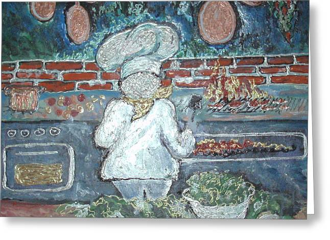 Lettuce Mixed Media Greeting Cards - The Chef Is Too Busy To Talk Greeting Card by Barbara LeMaster
