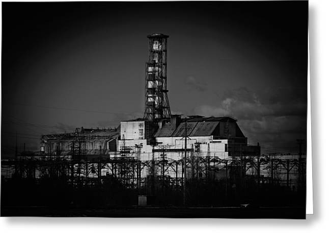Power Plants Pyrography Greeting Cards - The Chernobyl Nuclear Pwer Plant 2012 March 14 in black and whi Greeting Card by Oliver Sved