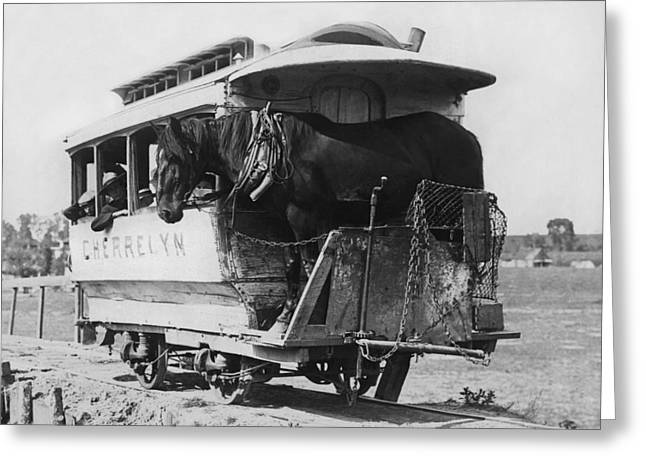 The Cherrelyn Horse Car Greeting Card by Underwood Archives