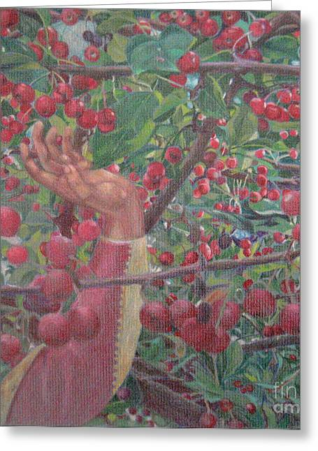 Tradional Greeting Cards - The Cherry Tree Carol Greeting Card by Glenda Blake