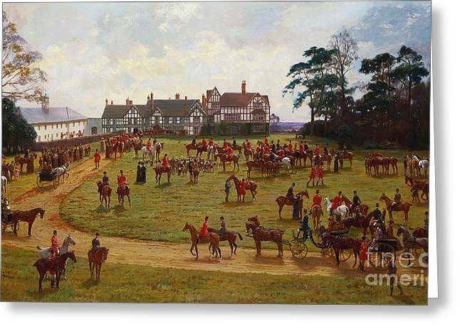 Aerial Greeting Cards - The Cheshire Hunt    The Meet at Calveley Hall  Greeting Card by George Goodwin Kilburne