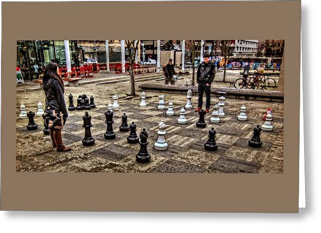 The Chess Match In Pdx Greeting Card by Thom Zehrfeld