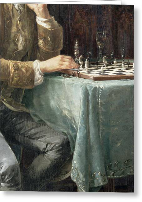 Powder Greeting Cards - The Chess Players, 1887 Greeting Card by Carl Herpfer