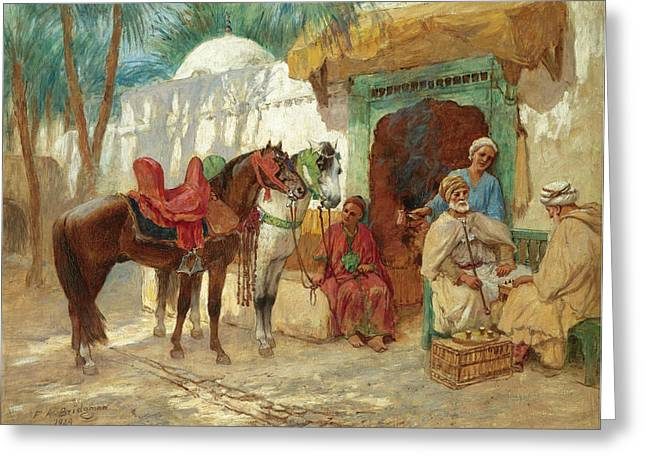 Chess Player Greeting Cards - The Chess Players Greeting Card by Frederick Arthur Bridgman