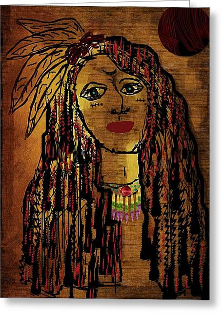 Brave Mixed Media Greeting Cards - The cheyenne indian warrior Brave Wolf pop art Greeting Card by Pepita Selles