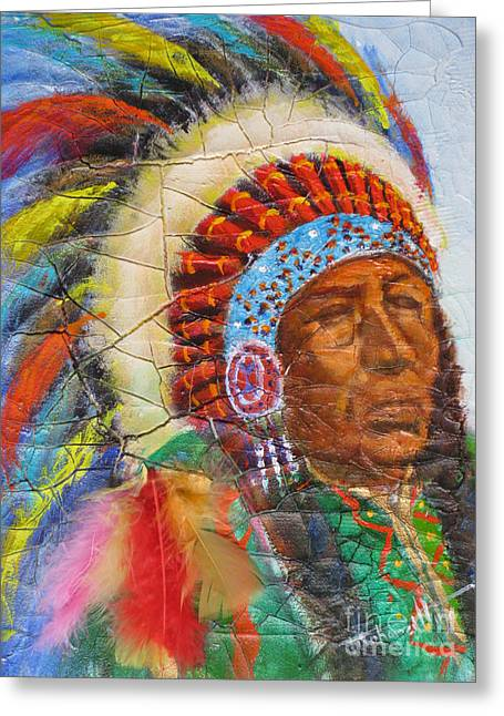 Ancient Indian Art Greeting Cards - The Chief Greeting Card by Mohamed Hirji