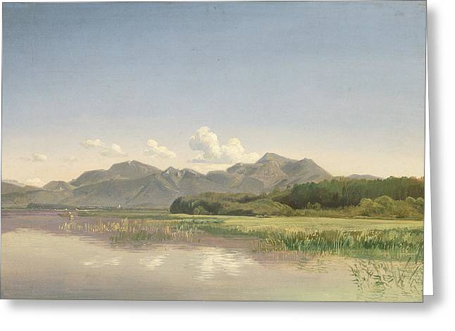 Bavaria Greeting Cards - The Chiemsee At Stock Oil On Paper Mounted On Canvas Greeting Card by Johann Beckmann