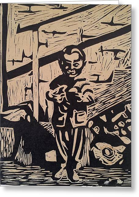 Linoleum Block Print Reliefs Greeting Cards - The Child Greeting Card by Emel Yigitoglu