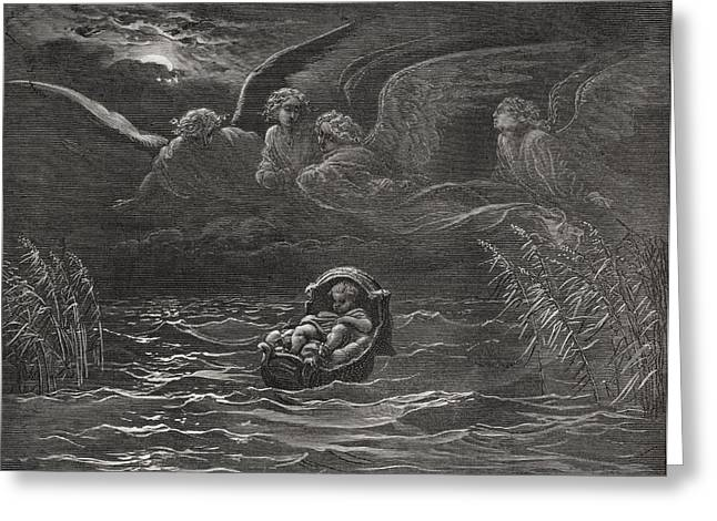 White River Drawings Greeting Cards - The Child Moses on the Nile Greeting Card by Gustave Dore