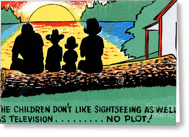 Road Trip Drawings Greeting Cards - The children dont like sightseeing as well as television.....NO PLOT Greeting Card by Eldon Frye