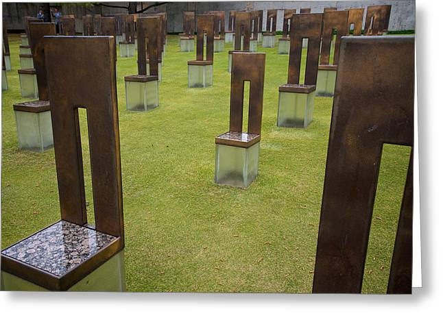Copper Green Greeting Cards - The Childs Chair Oklahoma City Memorial Greeting Card by Mary Lee Dereske