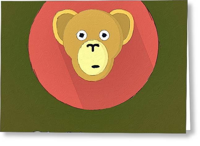 Cute Animal Cartoon Greeting Cards - The Chimpanzee Cute Portrait Greeting Card by Florian Rodarte