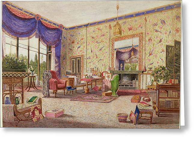Curtain Greeting Cards - The Chinese Drawing Room, Middleton Greeting Card by William Alfred Delamotte