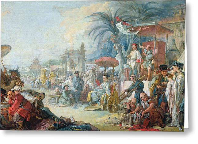 Birdcages Greeting Cards - The Chinese Fair, C.1742 Oil On Canvas Greeting Card by Francois Boucher