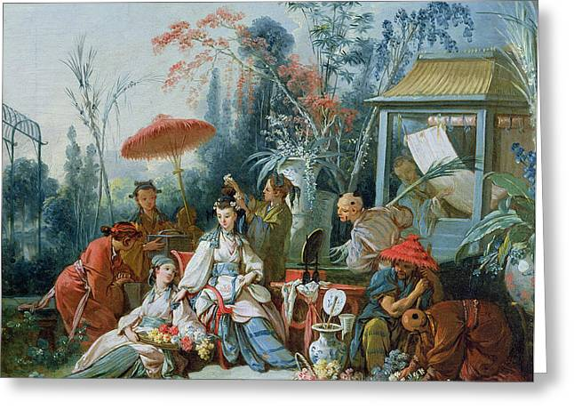 Le Jardin Greeting Cards - The Chinese Garden, C.1742 Oil On Canvas Greeting Card by Francois Boucher