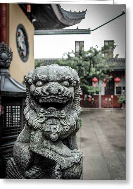 Antique Beijing Greeting Cards - The Chinese Guardian Stone Greeting Card by Wilson Carvalho