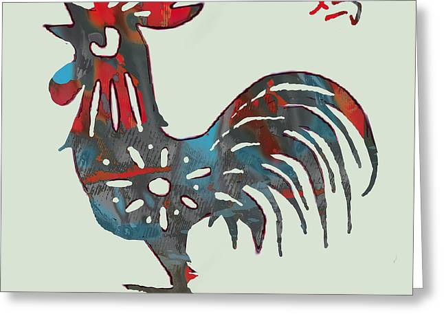 The Chinese Lunar Year 12 Animal - Rooster Pop Stylised Paper Cut Art Poster Greeting Card by Kim Wang