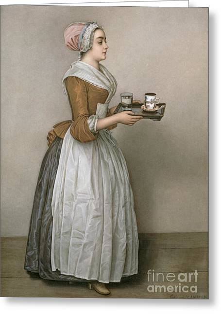 Apron Greeting Cards - The Chocolate Girl Greeting Card by Jean-Etienne Liotard
