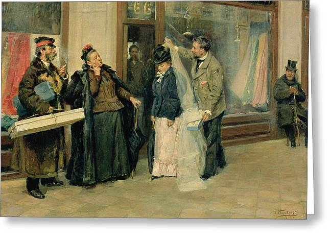 Street Scenes Greeting Cards - The Choice Of Wedding Presents, 1897-98 Oil On Canvas Greeting Card by Vladimir Egorovic Makovsky