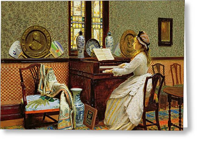 Stained Glass Windows Greeting Cards - The Chorale Greeting Card by John Atkinson Grimshaw
