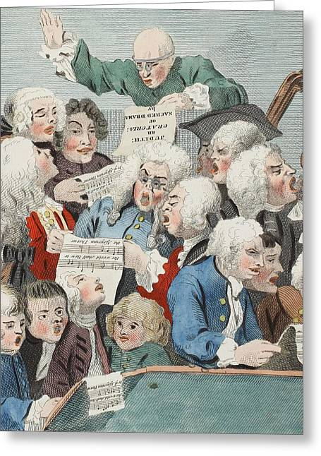 Humourous Greeting Cards - The Chorus Or Rehearsal Of The Oratorio Greeting Card by William Hogarth