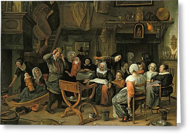 Interior Scene Photographs Greeting Cards - The Christening Feast, 1668 Oil On Canvas Greeting Card by Jan Havicksz. Steen