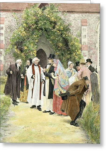 Baptism Greeting Cards - The Christening Greeting Card by Walter Dendy Sadler