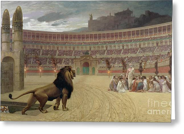 Fora Greeting Cards - The Christian Martyrs Last Prayer Greeting Card by Jean Leon Gerome