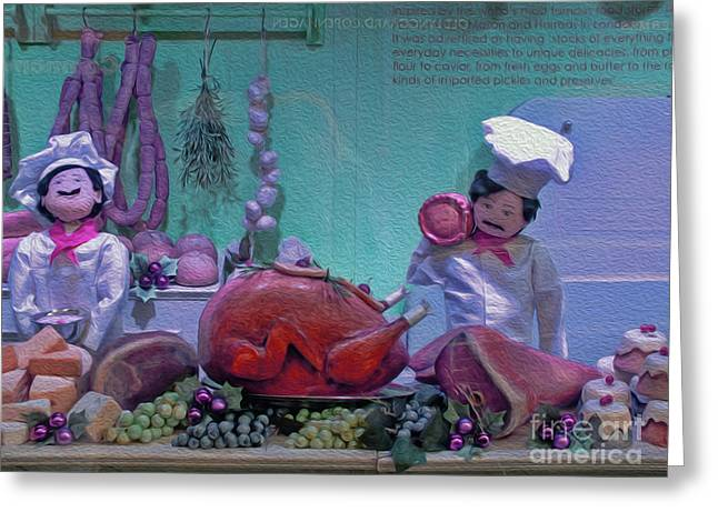 Deli Greeting Cards - The Christmas Butcher Greeting Card by Karen Lewis